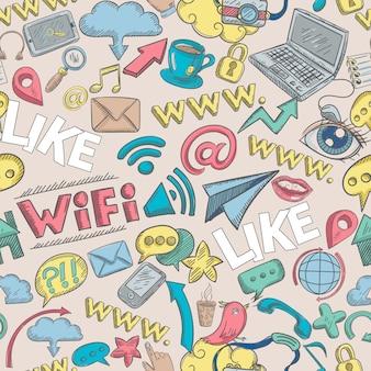 Social doodle бесшовные
