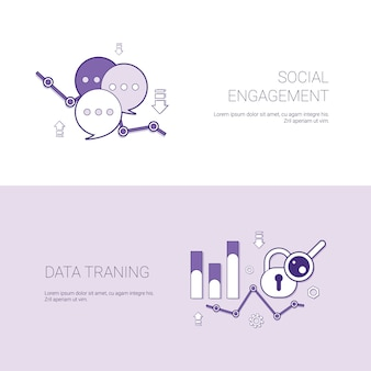 Social engagement and data training template web banner with copy space
