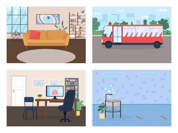 社会環境フラットカラーイラストセットモダンなリビングルームトレンディな家幼稚園トイレドクターオフィス漫画インテリア