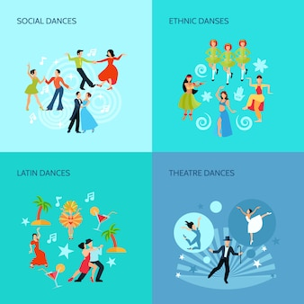 Social ethnic latin and theatre dances flat style 4 posters concept