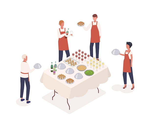 Social event preparation isometric vector illustration. table serving, restaurant service concept. waiters and waitresses cartoon characters. cafe staff and festive table isolated on white background.