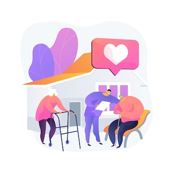 社会施設抽象概念ベクトルイラスト。ソーシャルサービスワーク、ヘルスケアセンター、教育学校、消防署、マタニティホーム、コミュニティホールは比喩を抽象化します。