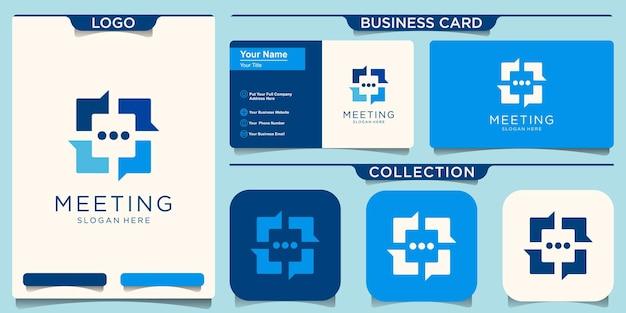 ソーシャルグループチャットのロゴデザインテンプレート。会議のアイコン。