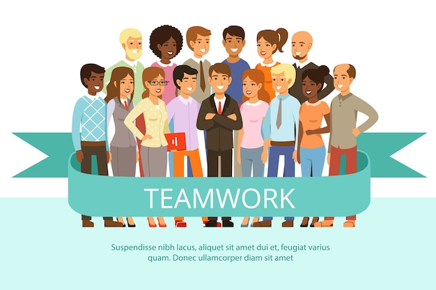 Social group on the work. office people in casual clothes. big corporate family.  characters  team work group people, business teamwork company cooperation illustration