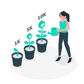 Иллюстрация концепции социального роста Бесплатные векторы