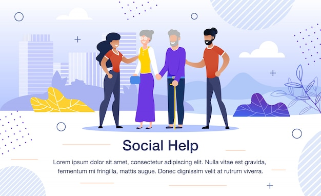 Social help for aged people flat vector banner