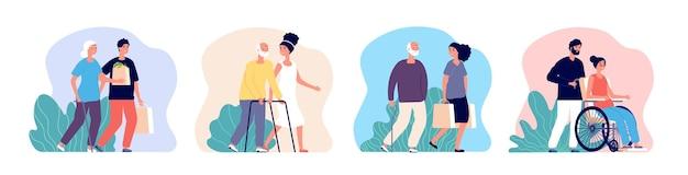 社会的支援。介護シニア、高齢者と一緒に働くボランティア。高齢者を気遣う若い男性女性