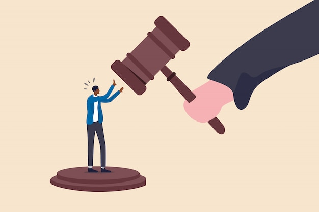Social inequality, discrimination, injustice and unfairness for black people or racism on people of color concept, judge using huge justice hammer to punish small black people or african american man.