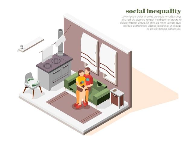 가난한 여자와 딸이 작은 방에있는 사회적 불평등 아이소 메트릭 구성