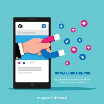 Sfondo di influencer sociale