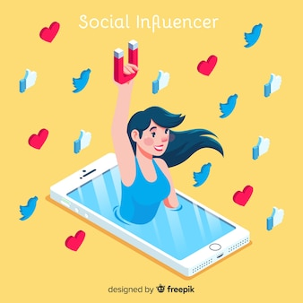 Social influencer concept with isometric view