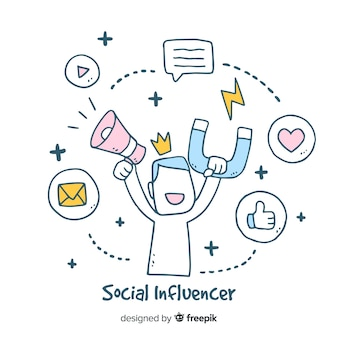 Social influencer hand drawn background