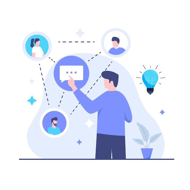 사회 지능 일러스트레이션 디자인 컨셉입니다. 웹사이트, 방문 페이지, 모바일 애플리케이션, 포스터 및 배너용 일러스트레이션