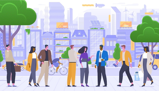 Social interactions flat vector illustration. friendly citizens outdoors cartoon characters. happy urban lifestyle, cheerful people on sidewalk. colleagues conversation, young couple on stroll