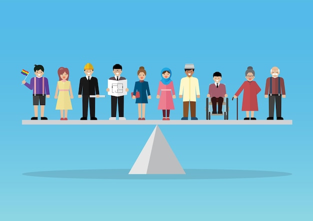 Social issue equality of people concept. peopla standing on balance scale. vector illustration