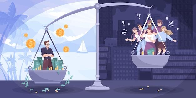 Плоская композиция денег социальной справедливости с неравными возможностями для людей с большим доходом и меньшим количеством иллюстраций