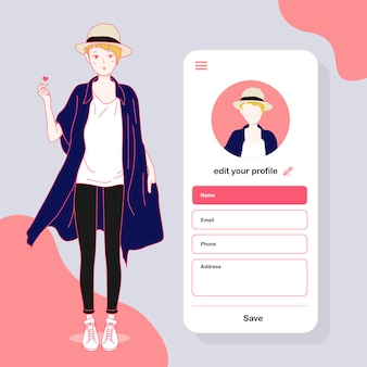 Social lady on the mobile application, vector character style and casual girl on social media profile