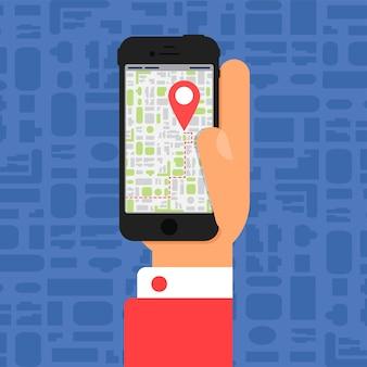 스마트폰과 함께하는 사회생활. 평면 최소한의 스타일로 손에 스마트폰의 전자 지도. 벡터