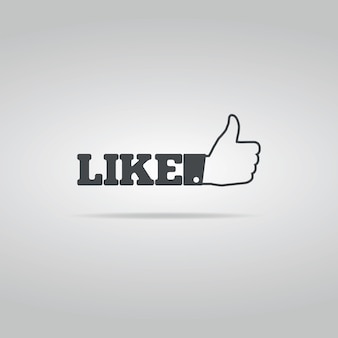 Social like icon on the white background