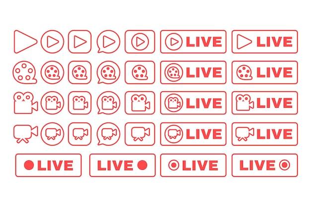 소셜 라이브 스트림 선형 아이콘을 설정합니다. 웹 스트리밍 배지 팩. 온라인 방송 뉴스 얇은 라인 컨투어 버튼 기호입니다. 격리 된 벡터 개요 그림