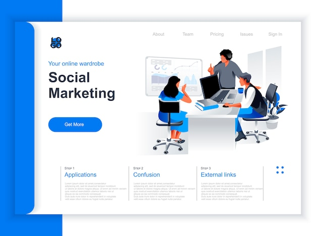Social marketing isometric landing page. marketing team brainstorming with infographics in office situation. marketing research and presentation, smm and seo technologies perspective flat design.