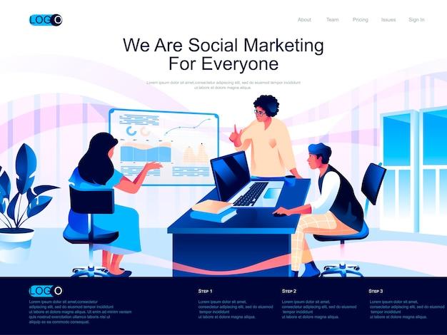 Изометрическая целевая страница социального маркетинга с плоскими персонажами