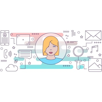 Social marketing tools and influencer flat icon vector outline symbol. digital market strategy business campaign development