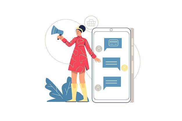 소셜 마케팅 웹 개념입니다. 확성기를 가진 여성은 소셜 네트워크에서 광고 캠페인, 모바일 앱 및 메신저에서 홍보, 최소한의 사람들 장면을 만듭니다. 웹사이트에 대 한 평면 디자인의 벡터 일러스트 레이 션