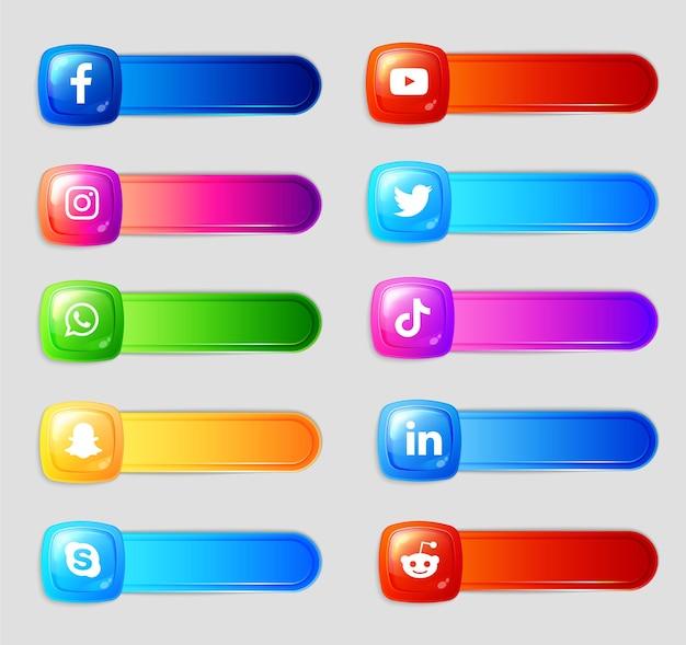 소셜 미디어 3d 아이콘 및 레이블 컬렉션 팩
