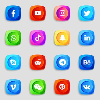 소셜 미디어 3d 아이콘 및 로고 컬렉션 팩