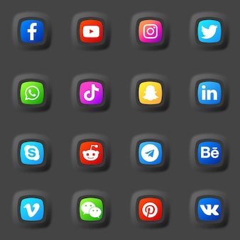 Social media 3d icons and logos collection pack