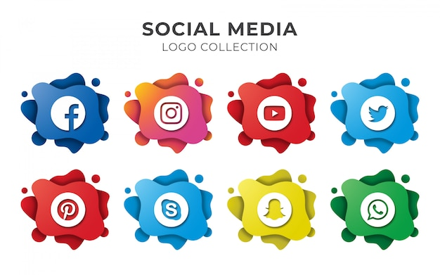 Social media abstract logo set