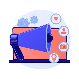 Pubblicità sui social media, pubblicità online, smm. annuncio di rete, contenuti multimediali, attività dei follower e dati geografici. personaggio dei cartoni animati di internet manager.