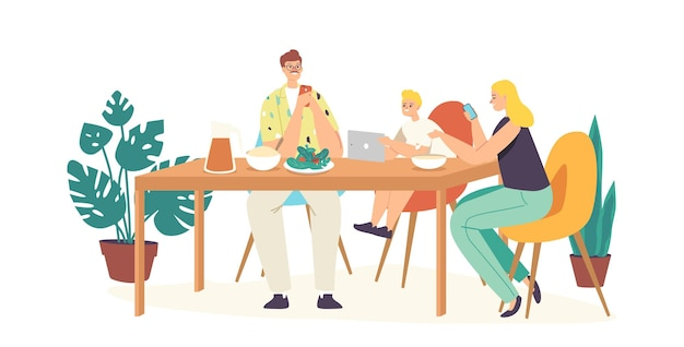 Social media addiction concept. family characters parents and child sitting together at home, mother and dad ignore son using smartphones for internet communication. cartoon people vector illustration