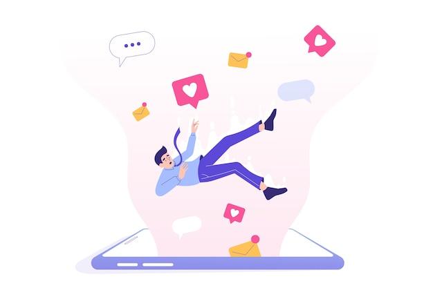 거대한 스마트 폰 화면에 떨어지는 남자와 소셜 미디어 중독