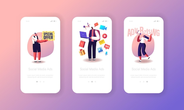 Social media ads mobile app page onboard screen template. alert advertising, public relations and affairs, communication, pr agency work. characters and ad concept. cartoon people vector illustration