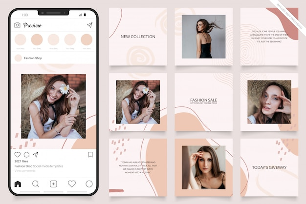 Instagramのソーシャルメディア広告テンプレート Premiumベクター