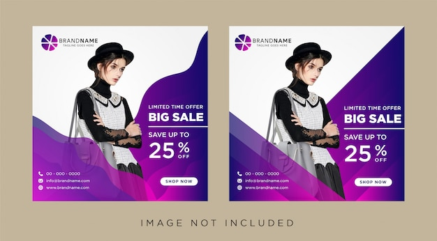 Social media advertising banner layouts set with gradient wave elements.