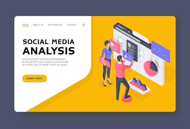 Social media analysis landing page banner template. male and female colleagues arranging users data and charts in while performing content analysis. isometric  illustration.