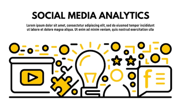 Social media analytics banner, outline style