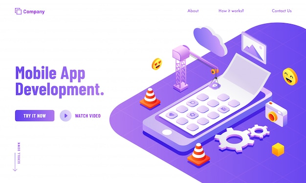 Social media & analytics tools management for mobile app development website poster or landing page design.