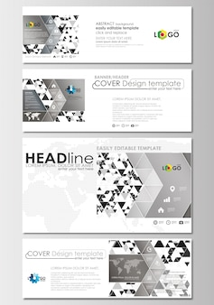 Установлены заголовки социальных сетей и электронной почты, современные баннеры. шаблон обложки.