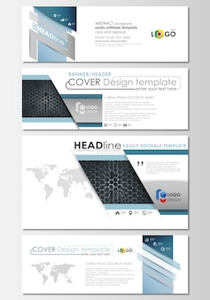 Social media and email headers set, modern banners.