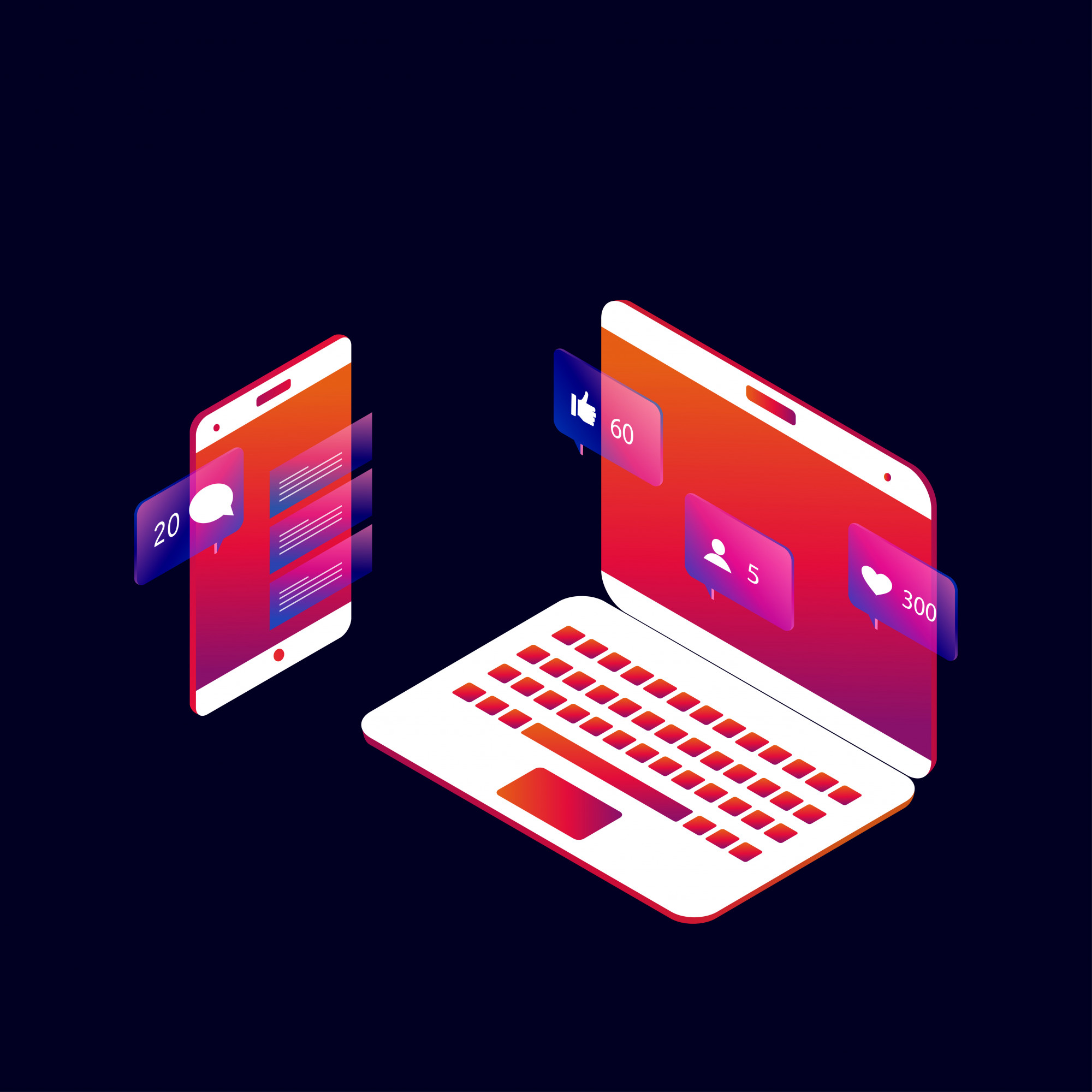 Social media and social network 3d isometric concept