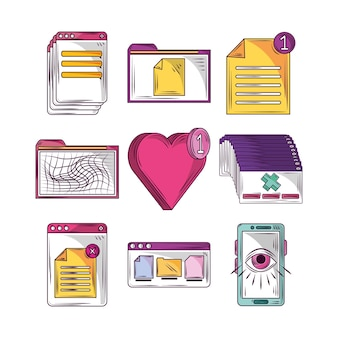 ソーシャルメディアとウェブサイトの要素セット Premiumベクター