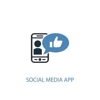 소셜 미디어 앱 개념 2 색 아이콘입니다. 간단한 파란색 요소 그림입니다. 소셜 미디어 앱 개념 기호 디자인입니다. 웹 및 모바일 ui/ux에 사용할 수 있습니다.