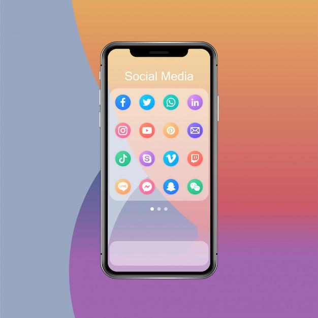 スマートフォンのソーシャルメディアアプリフォルダーとアプリアイコン