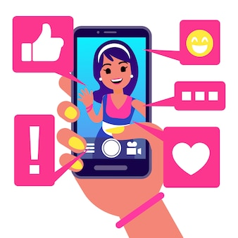 Социальные медиа приложение, девушка делает селфи векторные иллюстрации. активная жизнь в концепции социальных сетей