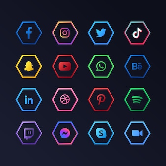 Social media app icons collection