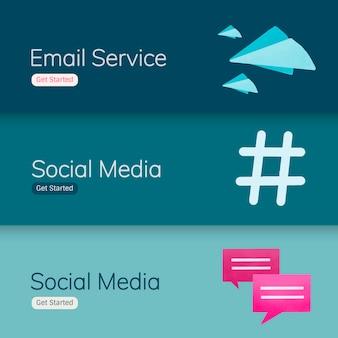 Social media application banner vectors